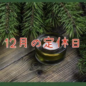 【サロン情報・定休日】2021年12月の定休日のお知らせ♪